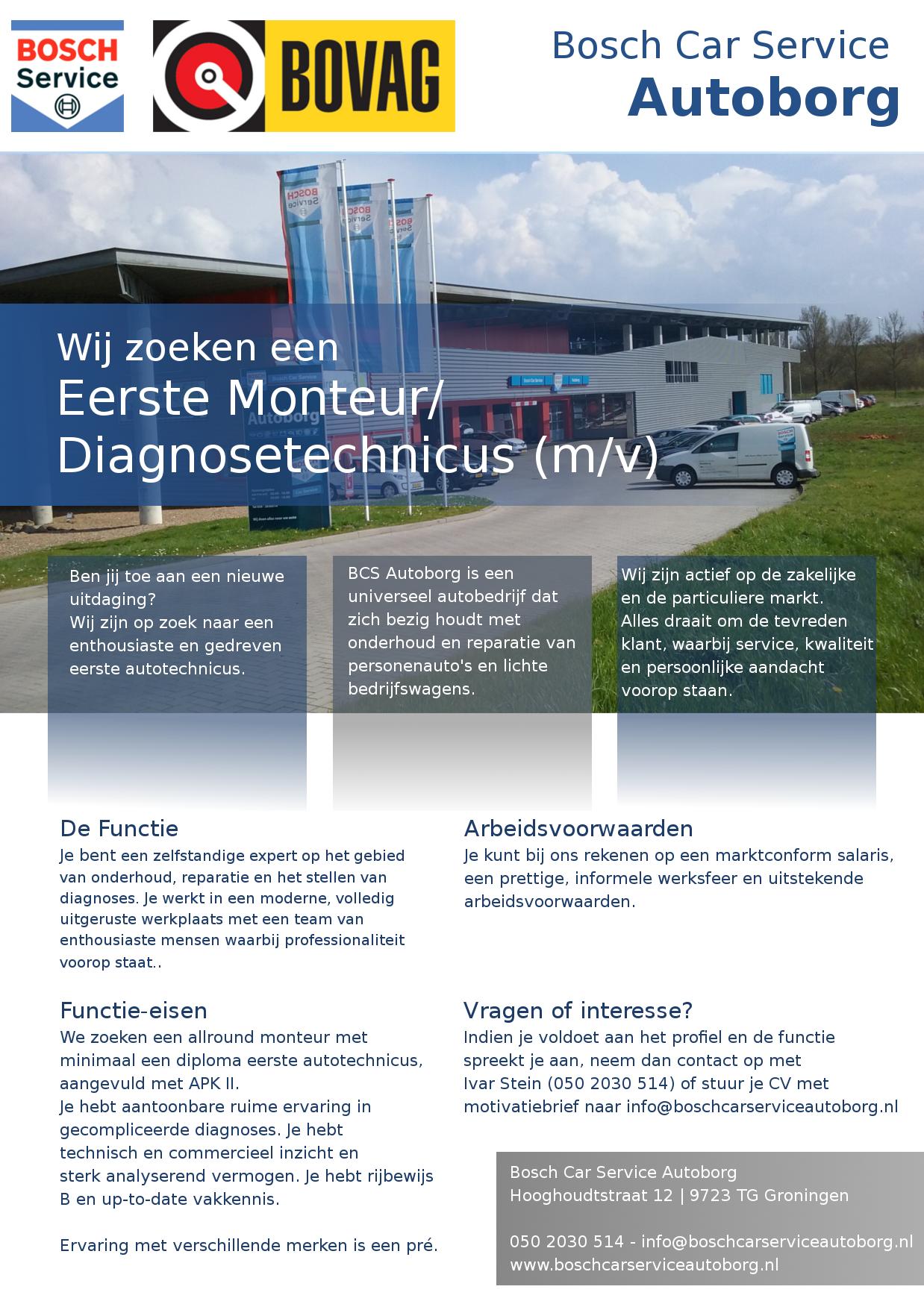 Vacature Autotechnicus Diagnosetechnicus